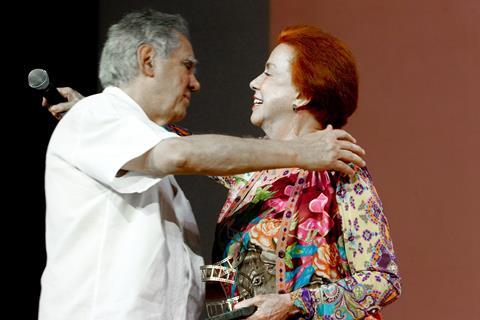 Luiz Carlos Barreto and Lucy Barreto during the tribute paid to them by the festival